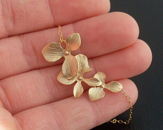Orchid Necklace Gold Plated Orchid Flower Charms 14k Gold Filled Chain Bridesmaid Necklace Bridesmaid Jewelry Orchid Jewelry Flower Necklace