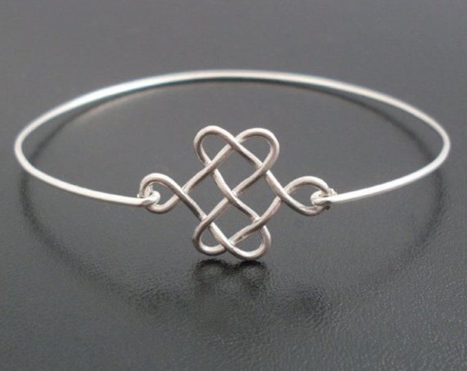 Celtic Knot Bracelet Silver Knot Bracelet Bridesmaid Knot Celtic Wedding Knot Bangle Celtic Jewelry Gift Scottish Jewelry Celtic Bracelet