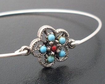 Bangle Bracelet Mexicana Silver Tone Blue Red, Mexico Bracelet Theme Mexico Jewelry Theme Cinco de Mayo Bracelet, Cinco de Mayo Jewelry