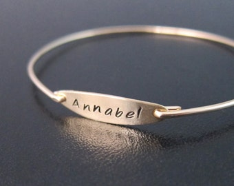 Name Bracelet Custom Bracelet for Women, Personalized Name Bangle Bracelet with Name Plate, Mimi Gift, Name Jewelry for Mom with Kids Name