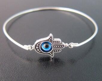 Dainty Evil Eye Bracelet Silver Tone Hamsa Bracelet for Women Evil Eye Jewelry Turkish Jewelry Turkish Bracelet Third Eye Jewelry Eye Bangle