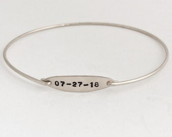 Sterling Silver Date Bracelet Wedding Date Bangle Bracelet Wedding Bracelet for Bride Bracelet for Wedding Day Bangle Bracelet Date Jewelry