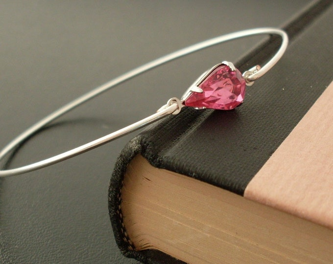 Pink Rhinestone Bangle Bracelet Pink Rhinestone Bracelet Pink Bridesmaid Jewelry Thin Bangle Bracelet Pink Bracelet for Women Pink Bangle