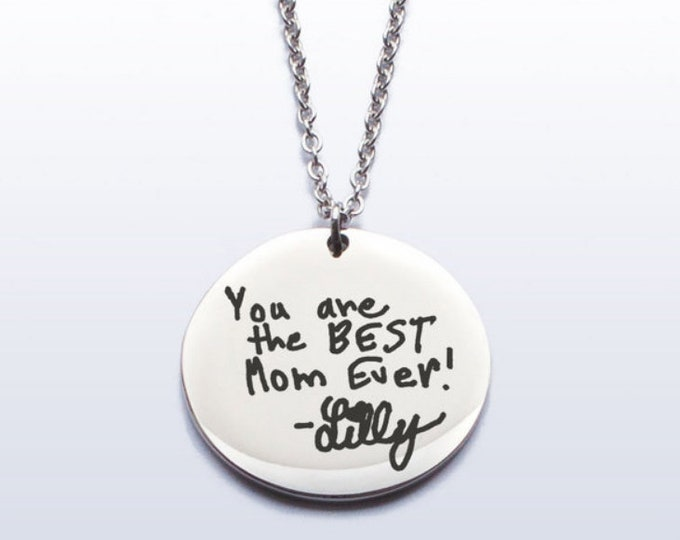 Child's Hand Writing Necklace