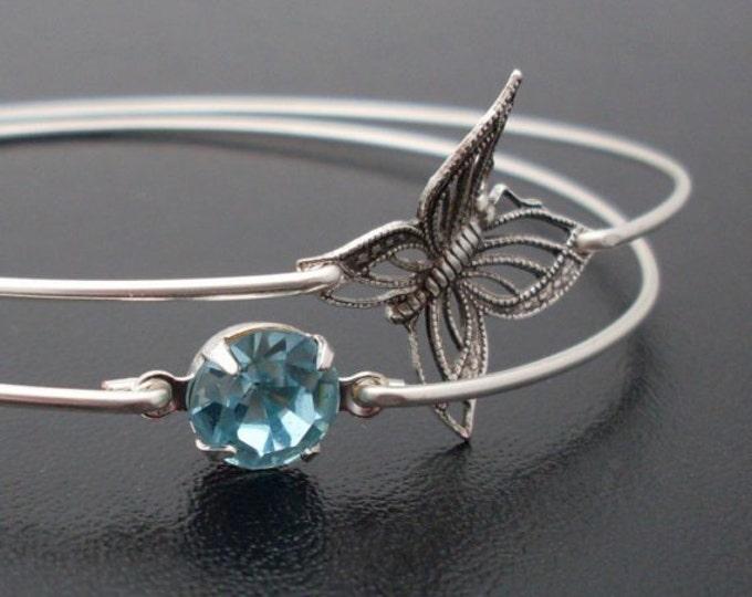 Butterfly Bracelet Stack, Butterfly Jewelry, Stacking Bangle Bracelet Set, Silver Tone, Blue Sky & Butterfly Bangle Set, Stacking Bracelets