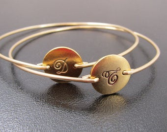 Friendship Jewelry, Best Friend Birthday Gift, Set of 2 Best Friend Bangles, Cursive Initials Front & Back, Long Distance Friendship Gift