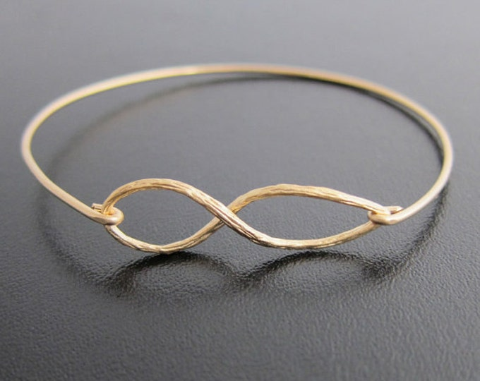 Infinity Bracelet Gold Plated with 14k GF Bangle Band Gold Bridesmaid Jewelry Gold Bridesmaid Bracelet Bridemaids Gift Brides Maid Jewelry