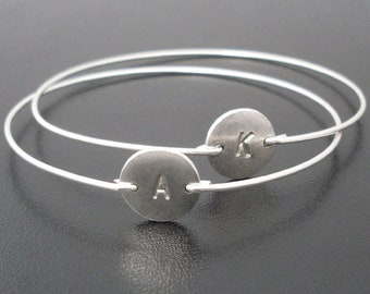 Personalized Initial Bracelet for Women Bracelet with Initial Charm Disc Her Personalized Bracelet for Bridesmaid Custom Bracelet for Friend