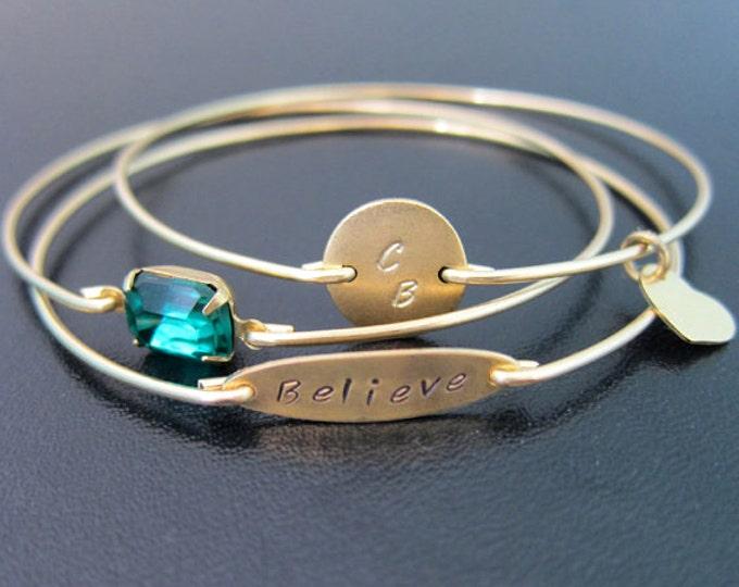 Believe Bracelet Set of 3 Custom Bangle Bracelets for Women Believe Jewelry Stackable Bangles Custom Bracelet Stack Personalized Bangle Set
