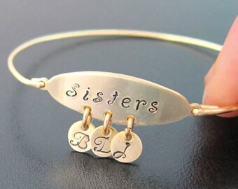 Personalized Sister Gift Idea Unique Gift for Sister Birthday Maid of Honor Gift Sisters Bracelet Sisters Jewelry Sisters Bangle Bracelet