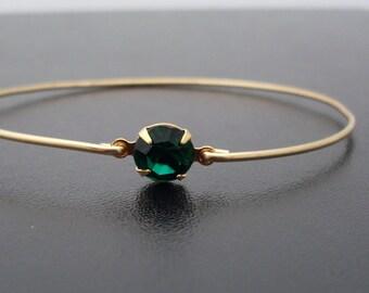 Green Bangle Bracelet, Helena - Gold, Green Rhinestone, Green Bracelet, Green Jewelry, Green Bangle Bracelet, Green Bracelet