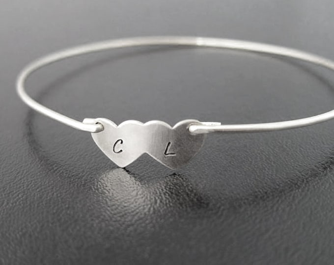 Two Hearts Bracelet, Wedding Gift for Wife, Gift for Her, Personalized Wedding Gift for Bride, Anniversary Gift for Wife, 2 Initials