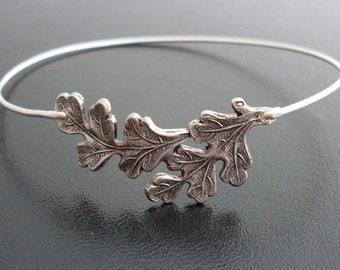 Oak Leaf Bangle Bracelet - Silver, Oak Leaf Bracelet, Oak Leaf Jewelry, Oak Leaves, Oak Bracelet, Oak Bangle, Oak Tree Jewelry, Oak Jewelry