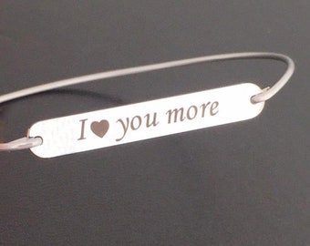 11 Year Anniversary Gift for Wife I Love You More Bracelet for Women Stainless Steel Anniversary Gift Her 11th Wedding Anniversary Bracelet