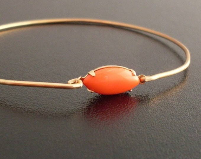 Oval Bangle Bracelet, Miranda - Coral and Gold Bracelet, Coral and Gold Jewelry, Oval Bracelet, Oval Jewelry, Coral Bangle, Coral Bracelet