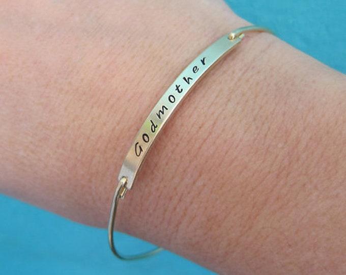 Godmother Gift Bracelet Stamped Godmother Bracelet Personalized Birthstone & Initial Godmother Jewelry Godmother Baptism Gift Birthday Gift