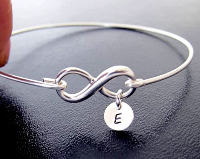 Sterling Silver Personalized Infinity Bracelet with up to 3 Initial Charms Gift for Teenage Girl Jewelry Teenage Girl Birthday Gift Daughter