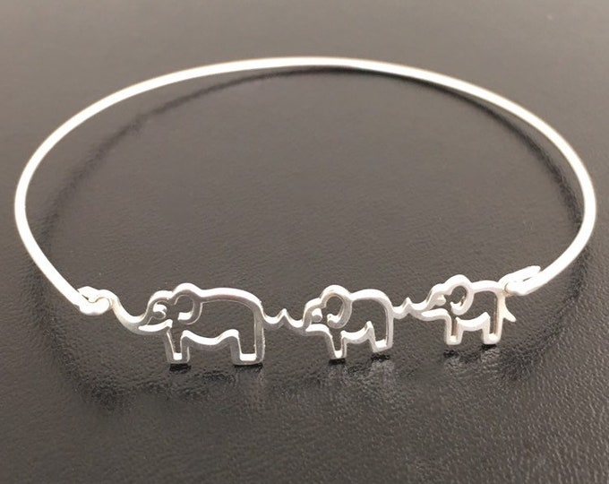 Sterling Silver Elephant Bracelet for Women Elephant Gift Idea Expecting Mom Gift Birthday Gift 2nd Pregnancy Gift Second Baby Gift for Mom