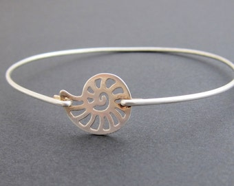 Nautilus Shell Bracelet, Shell Bangle, Shell Jewelry, Ammonite Jewelry, Ammonite Bracelet Seashell Jewelry Sterling Silver Seashell Bracelet
