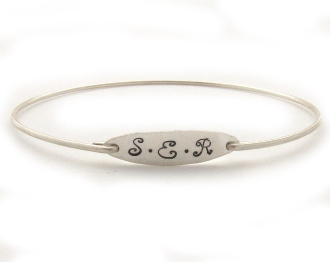 Monogram Bracelet for Women 3 Initial Bracelet Monogram Gift Idea for Bride, Mother, College Graduate, Her Monogram Jewelry, Monogram Bangle