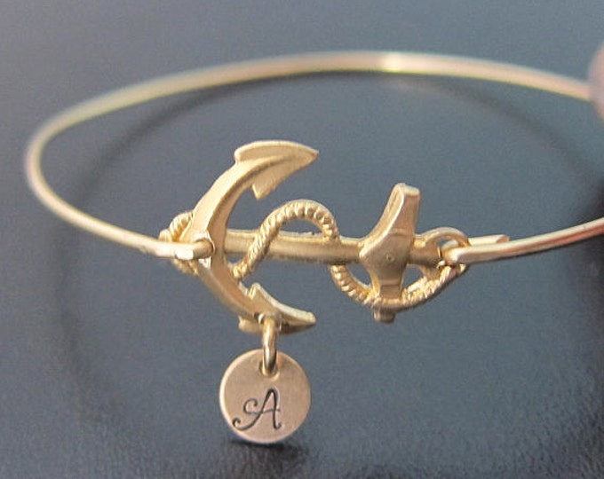 Anchor Bracelet Womens Personalized Anchor Jewelry w/ Stamped Initial Charm Sailing Gift Idea Sailing Bracelet Sailor Gift Nautical Jewelry