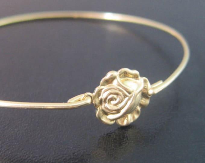 Rose Flower Bracelet, Gold Rose Bracelet, Rose Bangle, Rose Jewelry, Flower Bangle, Gold Flower Bracelet, Victorian Jewelry, Flower Jewelry