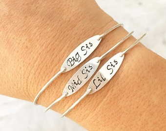 Three Sisters Bracelets Sterling Silver Sister Jewelry Sister Gifts Birthday from Sister Long Distance for Adults 3 Sister Bangle Bracelets
