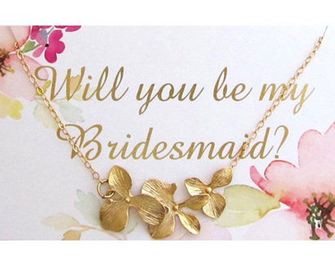 Orchid Necklace & Will You Be My Bridesmaid Proposal Card Gift Jewelry Customize a Set of 2 3 4 5 6 7 8 9 10 11 12 More