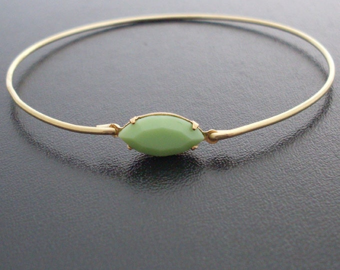 Bracelet Bangle, Lucia, Apple Green Jewelry, Green Bridal Jewelry, Green Wedding Jewelry
