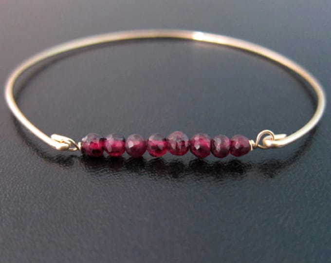 Red Garnet Bracelet for Women 14k Gold Filled or Sterling Silver January Birthstone Bracelet Gemstone Garnet Bead Bracelet Red Bead Bracelet