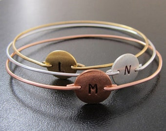 Mixed Metal Bracelets, Mixed Metal Jewelry, Three Initial Monogram Bracelets, Mixed Metal Bangles, Copper, Silver, Gold, Handmade Jewelry