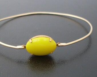 Yellow Bracelet, Yellow Jewelry, Sunshine Bracelet, Sunshine Jewelry, Yellow Bridesmaid Jewelry, Bright Yellow Bangle Bracelet