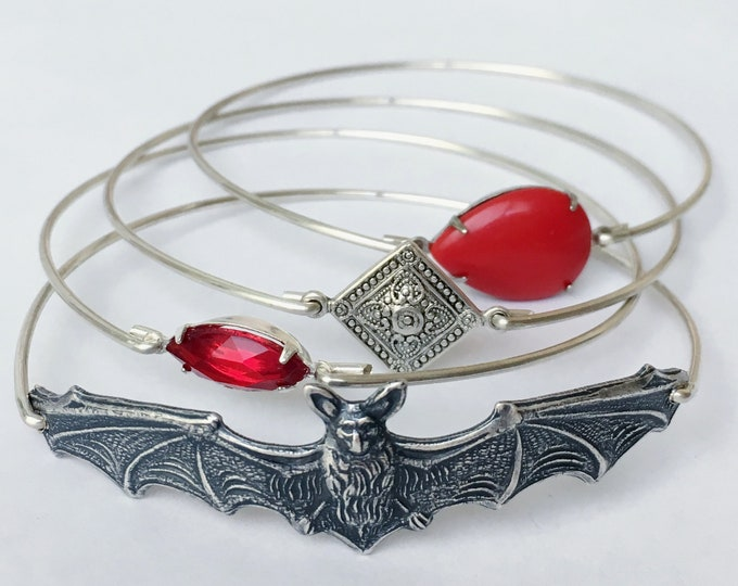 Vampire Bat Bangle Bracelet Set Gothic Jewelry for Women Goth Jewelry Gothic Bracelet Goth Bracelet Vampire Jewelry Vampire Bracelet Stack