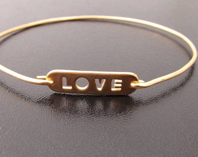 Love Bangle Bracelet Love Jewelry, Love Charm Bracelet, Cut out Bracelet Bangle, Love Note Jewelry