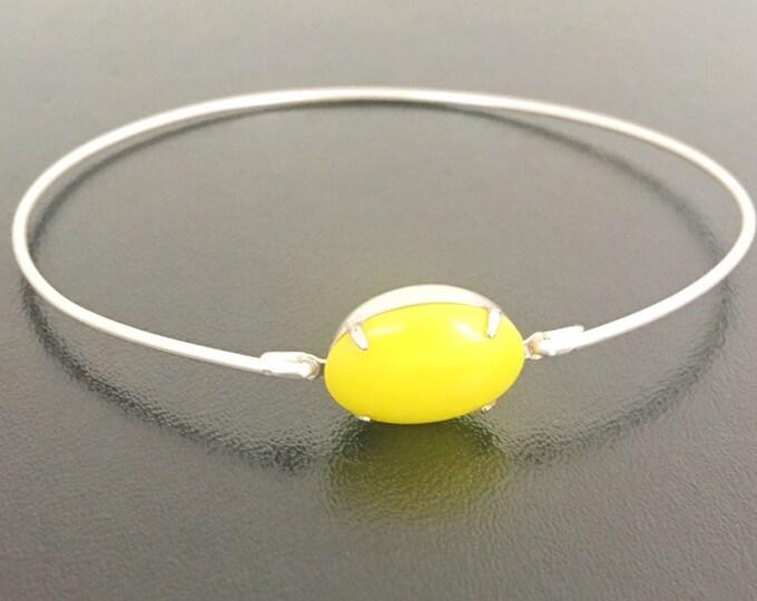 Bright Yellow Bangle Bracelet Neon Yellow Bracelet, Sunny Yellow Stone Bracelet, Bridal, Electric Yellow Bridesmaid Jewelry, Yellow Jewelry