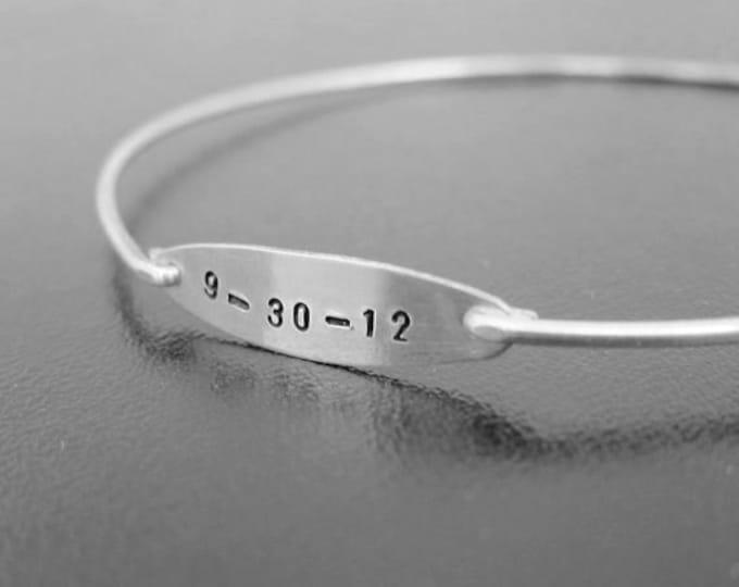 Custom Wedding Gift, Wedding Date Bracelet, Personalized Wedding Gift, Anniversary Date Bracelet, Keepsake, Unique Wedding Anniversary Gift