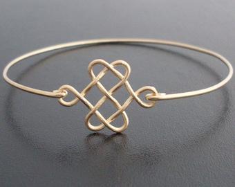 Celtic Knot Bracelet Gold Knot Bracelet Bridesmaid Irish Jewelry Celtic Jewelry for Women Celtic Bracelet Celtic Love Knot Bracelet Bangle