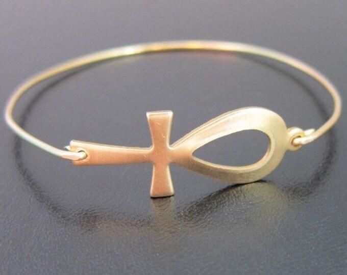 Ankh Bracelet Gold Tone Ankh Bangle Egyptian Ankh Egyptian Bracelet for Women Egyptian Jewelry Bracelet Ankh Jewelry Hieroglyphic Bracelet