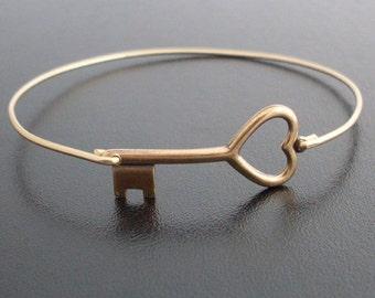 Key to My Heart Bangle Bracelet, Brass Key Heart Bracelet, Key to Heart Jewelry, Key Jewelry, The Secret Garden Key, Heart Key Bracelet