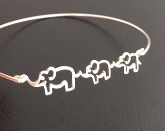 Sterling Silver Elephant Bracelet Women Elephant Gift Expectant Mother Jewelry Expecting Mom Gift Christmas Gift 2nd Pregnancy Second Baby