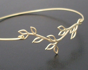Olive Branch Bracelet, Gift for Bridesmaid Bracelet, Gold Plated Vine, Bridesmaid Gift Idea From Bride, Grecian Jewelry Olive Branch Jewelry