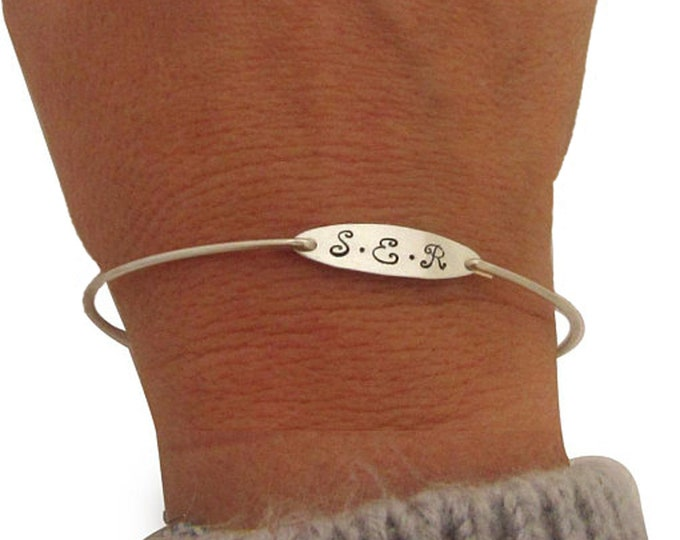 Personalized Sterling Silver Monogram Bracelet Bangle for Women Teen Girl Graduation Gift Sterling Monogram Bangle Bracelet Sterling Bangle