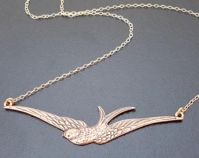 Swallow Necklace, Swallow Bird Necklace, Swallow Pendant Necklace, Sparrow Necklace, Sparrow Bird Necklace, Bird Pendant Necklace