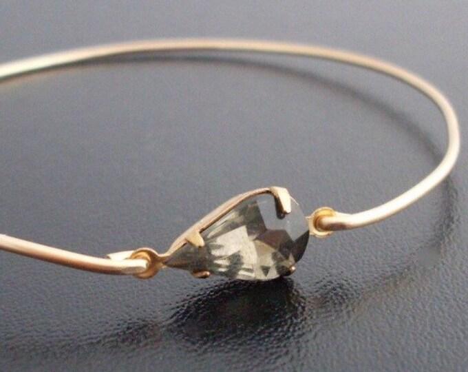 Gray Bangle Bracelet Gray Rhinestone Gray Bracelet for Women Teardrop Gray Jewelry Grey Bangle Grey Rhinestone Grey Bracelet Grey Jewelry