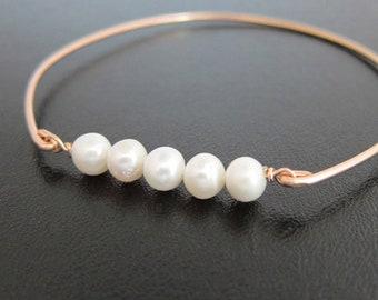 Rose Gold Cultured Freshwater Pearl Bracelet Bangle 14k Rose Gold Filled Pearl Jewelry Rose Gold Bridal Bracelet Rose Gold Bride Bracelet