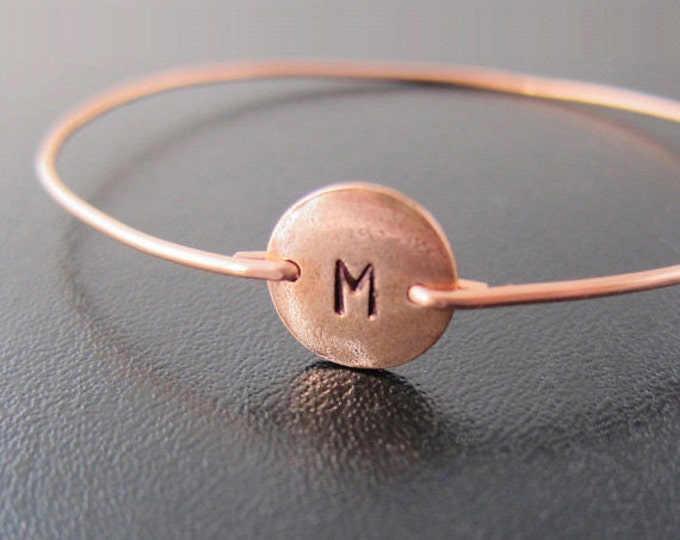 Copper Bracelet, Womens Copper Jewelry, Copper Bangle Bracelet, Hand Stamped Jewelry Hand Stamped Bracelet, Initial Bangle Bracelet