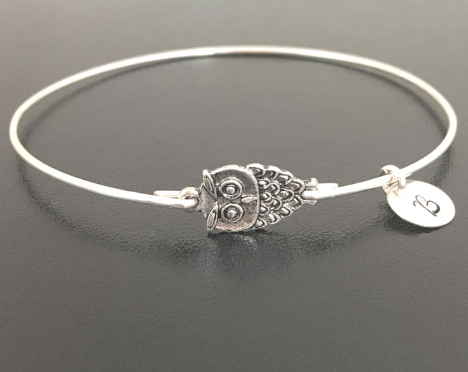 Personalized Teacher Gift From Class Students Owl Teacher Bracelet Appreciation Teacher Jewelry End of Year Gift Retirement Teacher Bangle