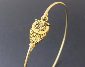 Mini Owl Bracelet Gold Tone Owl Charm Bracelet Owl Gift Women Owl Jewelry Gift Girlfriend Wise Owl Bangle Teacher Birthday Gift from Class