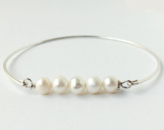 Cultured Fresh Water Pearl Bracelet Bridesmaid Gift Bride Women June Birthday Gift Her Bridal Bracelet June Birthday Jewelry Pearl Jewelry