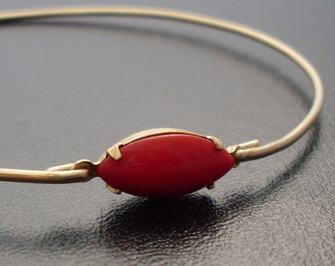 Lipstick Red Bracelet - Anika, Red Bangle Bracelet, Lipstick Jewelry, Oval Bangle Bracelet, Oval Bracelet, Thin Bangle Bracelet, Red Jewlery